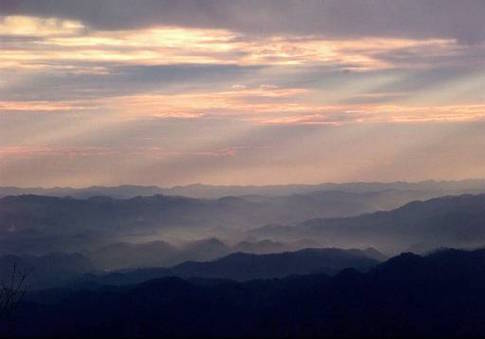 The sun sets over the Appalachian Mountains
