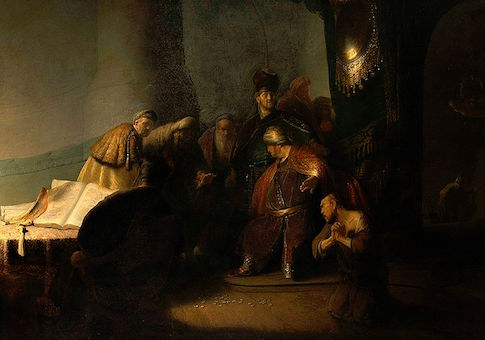 Judas returning the thirty silver pieces