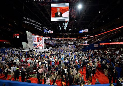 RNC session inside the Quicken Loans Arena on the first day of the Republican National Convention in Cleveland / AP