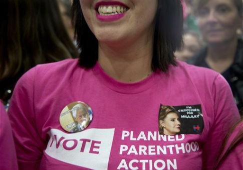Pro-choice voter Melissa Vincett attends a Clinton campaign event / AP