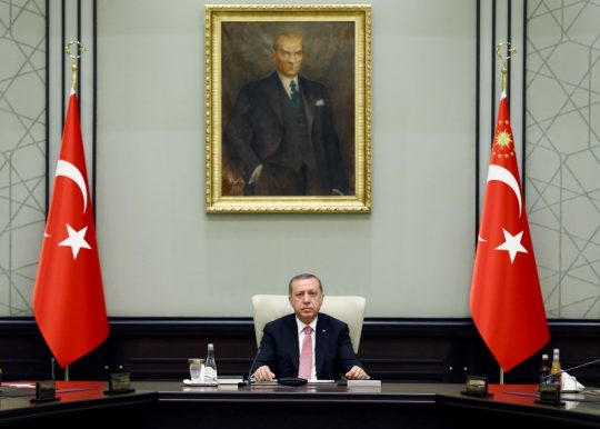 Turkish President Tayyip Erdogan at the presidential palace / REUTERS