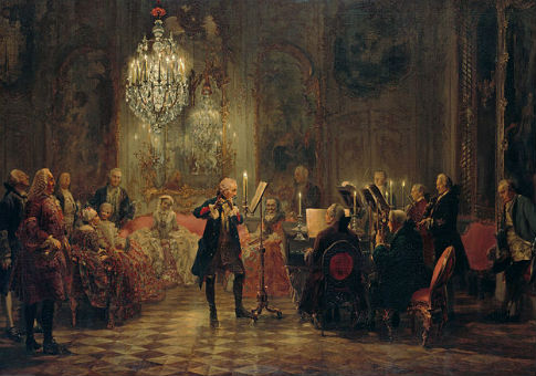 Frederick the Great plays the flute in Sanssouci, his summer palace / Adolph von Menzel
