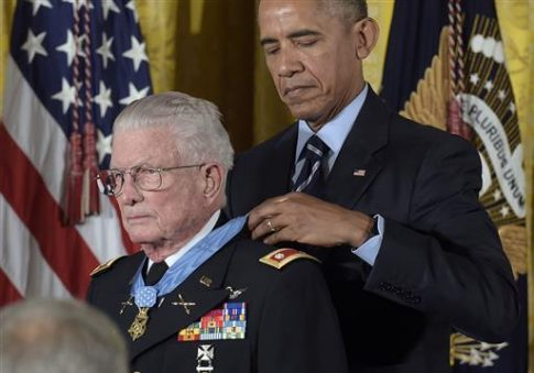 President Obama presents the Medal of Honor to retired Army Lt. Col. Charles Kettles of Michigan during a ceremony in the East Room of the White House, Monday, July 18, 2016 / AP