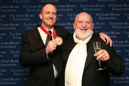 Michel Richard, right, accepting the 2008 James Beard Award for Best New Restaurant (AP)