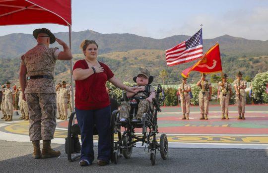 Wyatt Gillette, 8, at Camp Pendleton, Calif. / AP