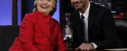 Hillary Clinton and Jimmy Kimmel on Aug. 22, 2016 / AP