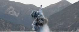 Underwater test-fire of strategic submarine ballistic missile released by North Korea's Korean Central News Agency on April 24, 2016 / REUTERS