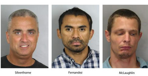 """These booking photos provided by the Fairfax County, Va., Police Department show, from left, Fairfax Mayor Richard """"Scott"""" Silverthorne, Juan Jose Fernandez, 34, and Caustin Lee McLaughlin, 21, both of Maryland / AP"""