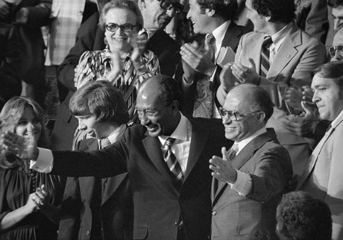 Menachem Begin, right, and Anwar Sadat in 1978 / Library of Congress