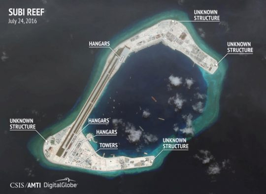 Satellite image from July 24, 2016, released by CSIS of construction on Subi Reef in the South China Sea / REUTERS