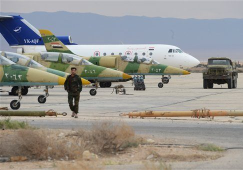 L-39 planes of the Syrian Arab Army Air Force at an aerodrome 50 km off Palmyra / AP