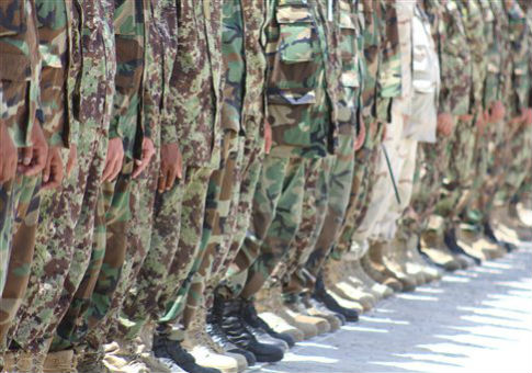 Afghan National army soldiers line up during military training / AP