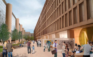 A rear view of the Eisenhower Memorial's metal tapestry and columns / Eisenhower Memorial Commission
