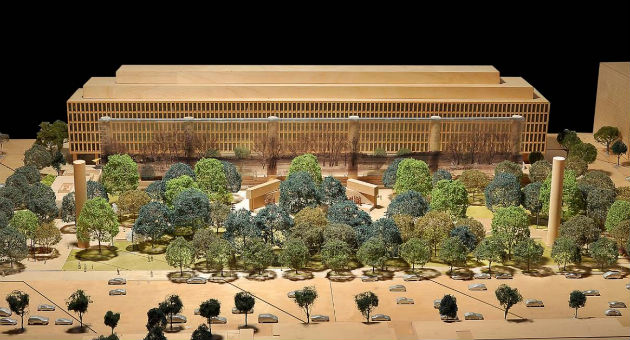 Aerial view of the Eisenhower Memorial's current design / Eisenhower Memorial Commission