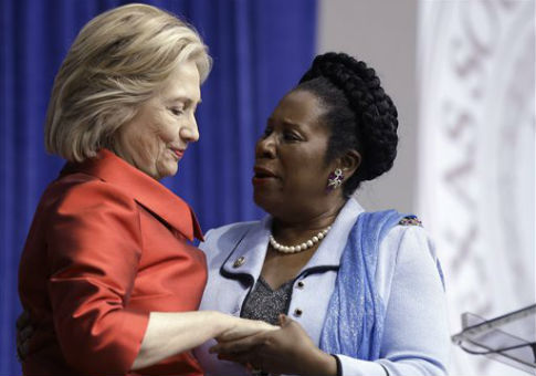 Rep. Sheila Jackson Lee with Hillary Clinton / AP
