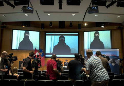 Video footage is seen during a press conference by the Royal Canadian Mounted Police about a failed terrorist incident / AP