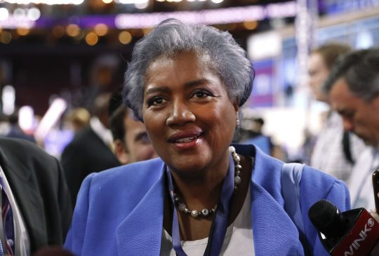 Donna Brazile, vice chair of the Democratic National Committee and serving as interim chair until November, speaks on the floor of the Democratic National Convention in Philadelphia, Monday, July 25, 2016. (AP Photo/Paul Sancya)