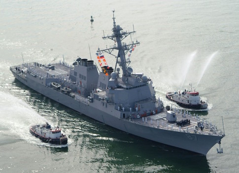 The USS Mason (DDG 87), a guided missile destroyer, arrives at Port Canaveral