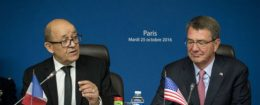 Defense Secretary Ash Carter, right, with French Defense Minister Jean-Yves Le Drian / AP