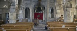 The inside of the church of Saint Shmoni, damaged by ISIS fighters, in Bartella, Iraq / AP
