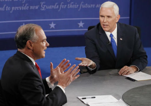 Tim Kaine, left, and Mike Pence, right / AP