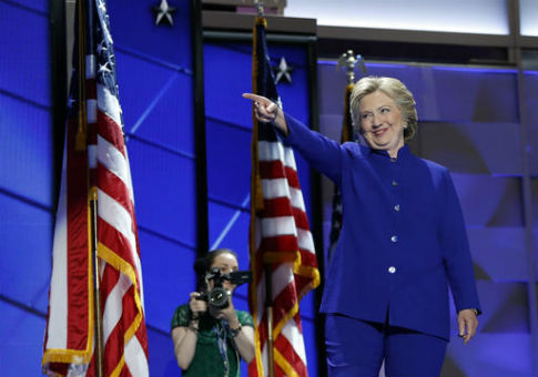 Hillary Clinton gestures to President Barack Obama during the Democratic National Convention in Philadelphia / AP