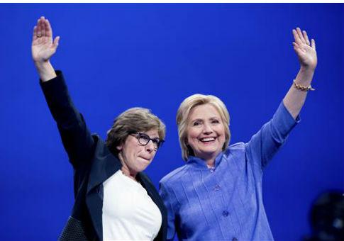 Hillary Clinton with AFT President Randi Weingarten, left / AP