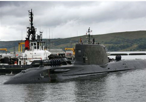 Attack submarine Artful, Britain's latest nuclear-powered submarine arrives at its new home on the Clyde in Scotland / AP
