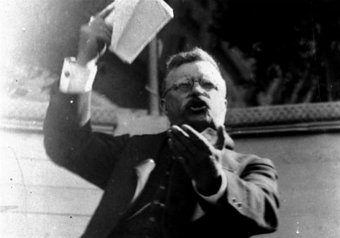 Theodore Roosevelt delivers a fiery address on July 21, 1915 / AP