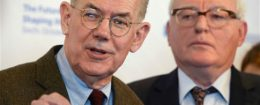 John J. Mearsheimer, left, and Piotr Dutkiewicz at the Valdai conference in Sochi, Russia / AP