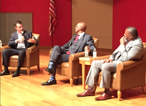 Rep. Todd Young (R., Ind.), Bob Woodson, and Pastor Darryl Webster in Indianapolis