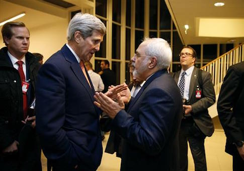 Secretary of State John Kerry talks with Iranian Foreign Minister Mohammad Javad Zarif in Vienna