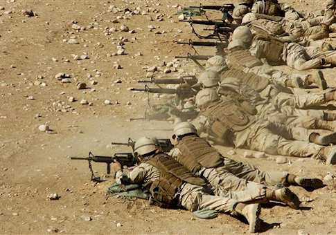 U.S. Navy Seabees fire M-4 and M-16A2 rifles during weapons qualification training near Camp Mike Spann, Afghanistan