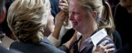Hillary Clinton greets crying supporter after giving concession speech, Nov. 9, 2016 / AP