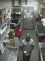 Guy breaking into Five Guys restaurant / YouTube screenshot