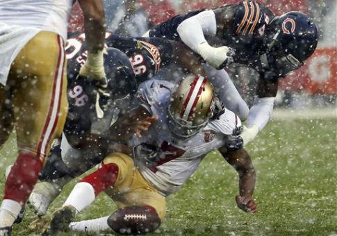 San Francisco 49ers quarterback Colin Kaepernick (7) fumbles, Dec. 4, 2016 / AP
