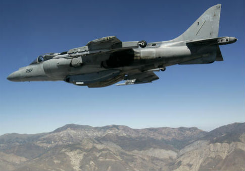 A U.S. Marine Corps AV-8 Harrier fighter jet / AP
