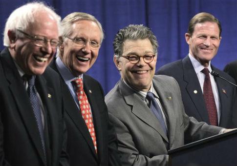 Dem Sens., from left, Bernie Sanders (I.), Harry Reid, Al Franken, and Richard Blumenthal