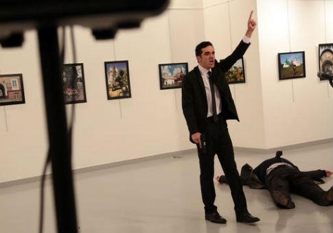 Mevlut Mert Altintasat after shooting Russian Ambassadorto Turkey Andrey Karlov in Ankara, Dec. 19, 2016 / AP