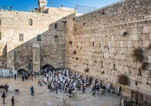 Orthodox Jewish people at the Western Wall, Jerusalem