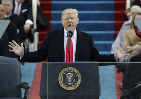 President Donald Trump delivers his inaugural address / AP