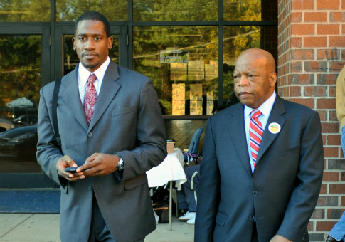Rep. John Lewis (D., Ga.), right, with his chief of staff Michael Collins in 2008 / AP