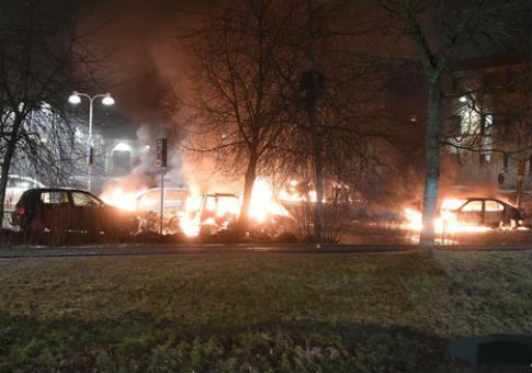 Burning cars in riots in Stockholm, Sweden, Feb. 20, 2017 / AP