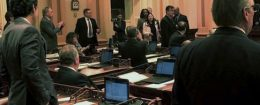 Image made from mobile video shows Republican Sen. Janet Nguyen being removed from Senate floor in Sacramento, Calif., Feb. 23, 2017 / AP