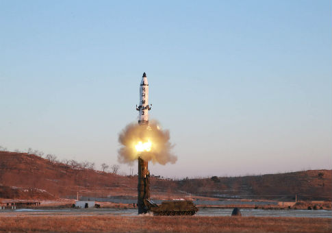 Test-fire of Pukguksong-2 guided by North Korean leader Kim Jong Un on the spot / KCNA via Reuters