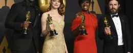 Mahershala Ali, from left, Emma Stone, Viola Davis, and Casey Affleck, all Academy Award winners / AP