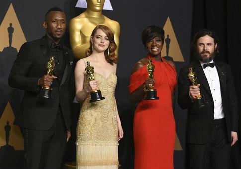 Mahershala Ali, from left, Emma Stone, Viola Davis, and Casey Affleck, all Academy Award winners / AP