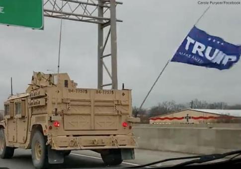 video forces seal teams navy convoy flies potus trump flag