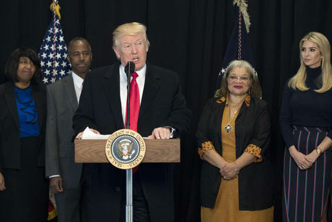President Donald Trump visits Smithsonian National Museum of African American History and Culture / AP
