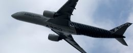 An Airbus A350 performing at the Zhuhai Air Show in Zhuhai, southern China's Guangdong province